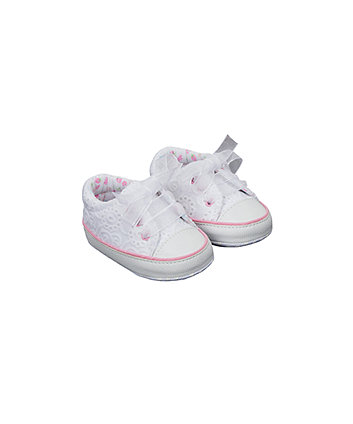 white broderie t-bar pram shoes