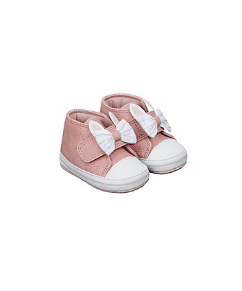 pink bunny hi-top pram shoes
