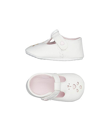 white t-bar pram shoes