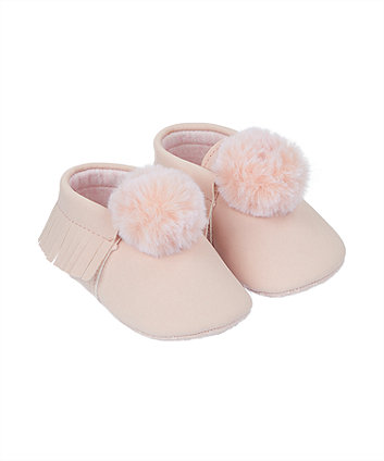 pink pom moccasin pram shoes