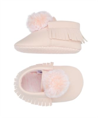 pink pom moccasin pram shoes