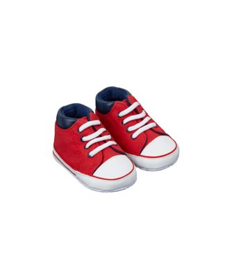 red hi top canvas pram shoes