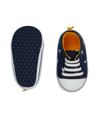 dinosaur navy canvas pram shoes