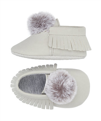 grey pom moccasin pram shoes