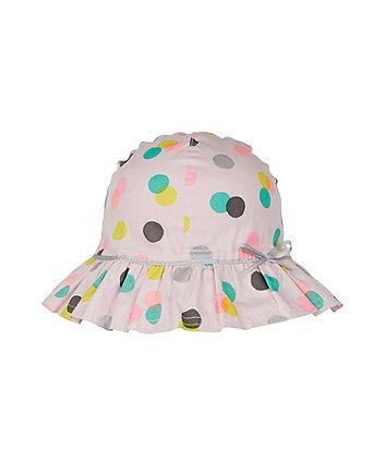 back to nursery pink spot sun hat