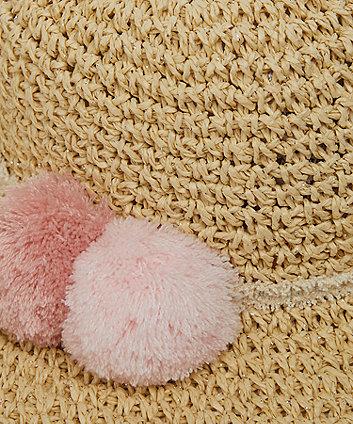 pink pom floppy straw hat