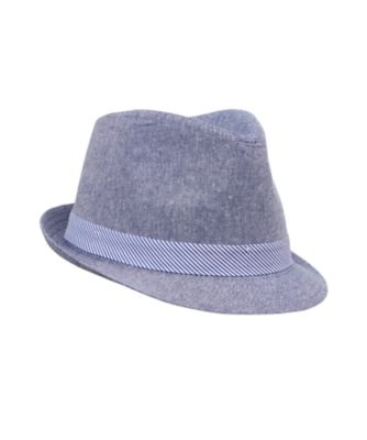 blue chambray trilby hat