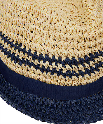 straw navy stripe trilby hat