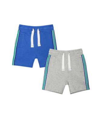 blue and grey striped shorts - 2 pack
