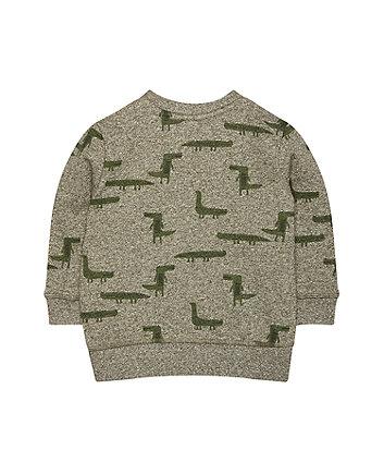 khaki crocodile sweat top