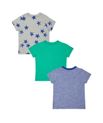car, green and star t-shirts - 3 pack
