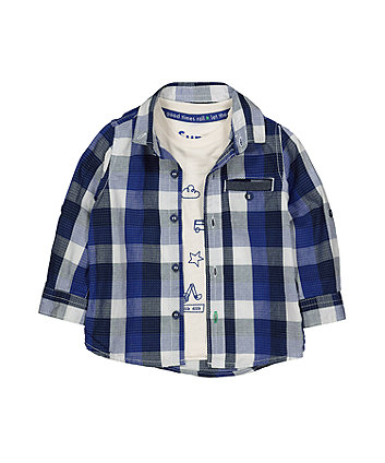 blue check shirt and vehicle t-shirt set