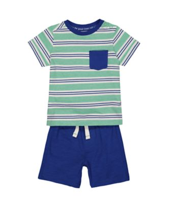 stripe t-shirt and blue shorts set