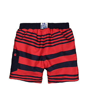 navy and red stripe swim shorts