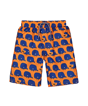 orange whale swim shorts