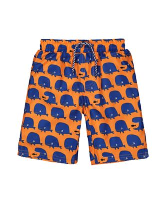 orange whale swim shorts