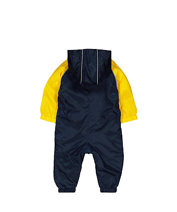 navy and yellow puddlesuit