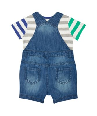 denim bibshorts and t-shirt set