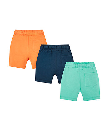navy, orange and turquoise shorts – 3 pack