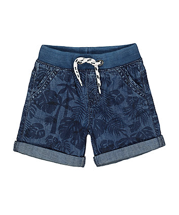 ribbed waist leaf denim shorts