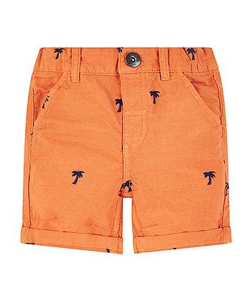 orange embroidered palm tree shorts