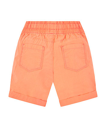 coral poplin shorts
