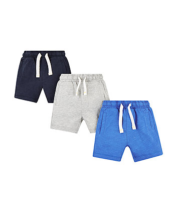 navy and grey shorts - 3 pack