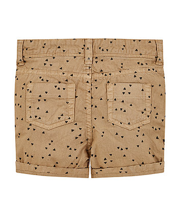 tan geometric print chino shorts