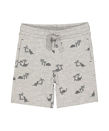 grey palm tree and dinosaur shorts