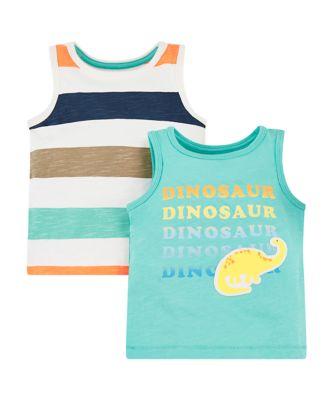dinosaur and stripe vests - 2 pack