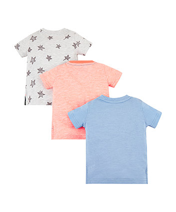 blue rocket, orange and star t-shirts – 3 pack