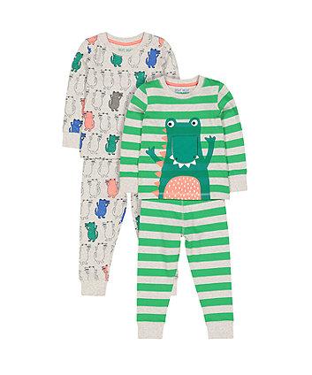 257407af319de dinosaur and crocodile pyjamas – 2 pack
