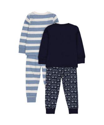 stripe and car pyjamas - 2 pack
