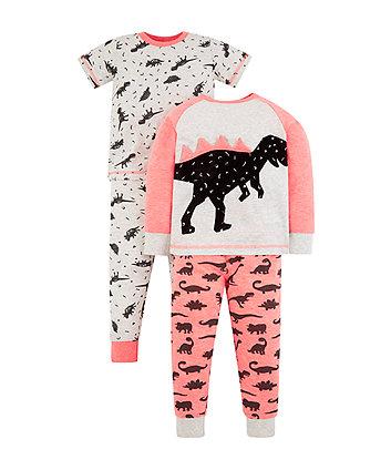 neon dinosaur pyjamas - 2 pack