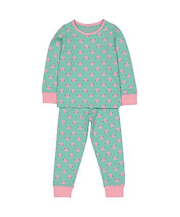 turquoise cat pyjamas