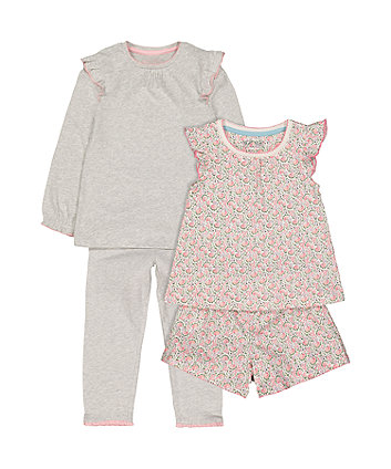 pink floral shortie and grey spot pyjamas - 2 pack