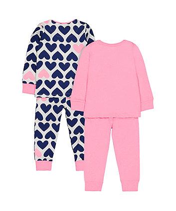 pink heart pyjamas - 2 pack