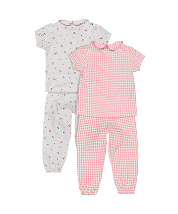 floral and pink gingham pyjamas - 2 pack