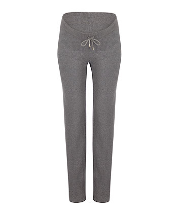 grey ribbed wide leg maternity trousers