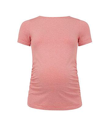 coral micro-stripe maternity t-shirt