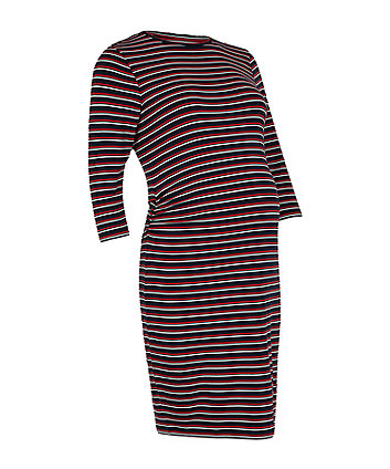 multi-stripe maternity tube dress