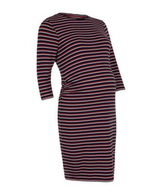 multi-stripe maternity tube dress