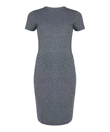 grey micro-stripe maternity tube dress