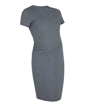 d0ecbab3215 grey micro-stripe maternity tube dress
