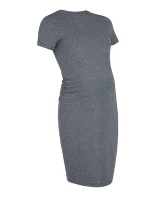 grey micro-stripe maternity tube dress