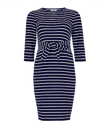 navy striped tie-waist maternity tube dress