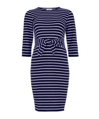 navy striped tie-waist maternity tube dress