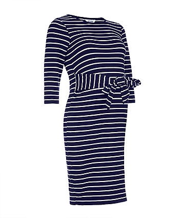 f228aa7fcdf navy striped tie-waist maternity tube dress