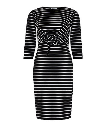 black striped tie-waist maternity tube dress