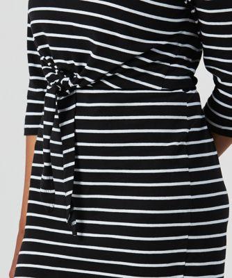 black striped tie-waist maternity tube dress